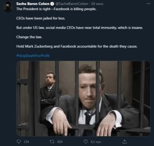 """""""Facebook убивает"""". Актер Саша Барон Коэн поддержал Байдена и хочет посадить ###овскую морду Цукерберга"""